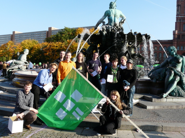 some of the Fellows who participated in front of the Neptunbrunnen, Berlin Alexanderplatz