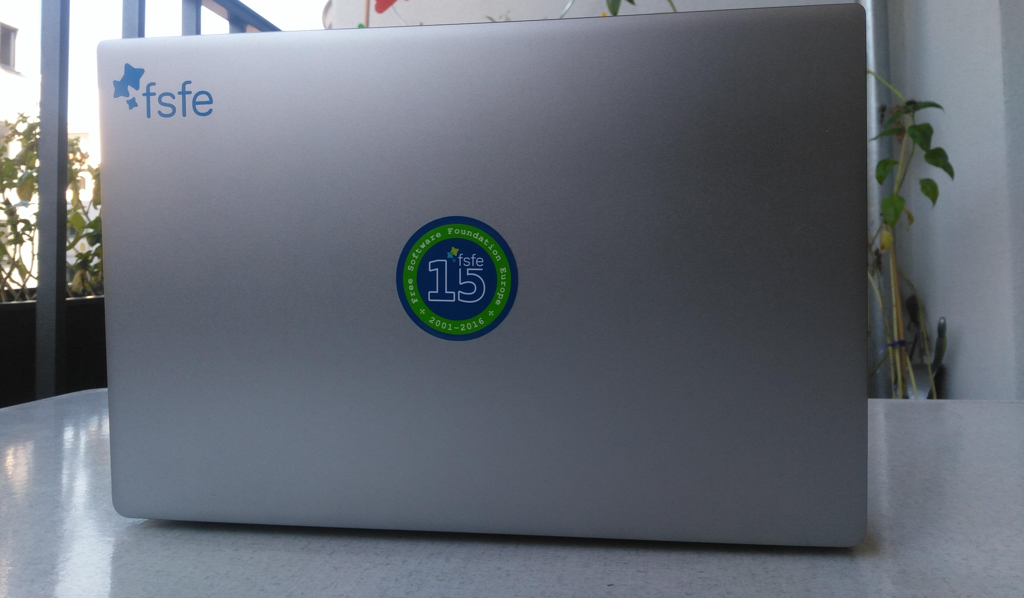 The FSFE15 sticker on my laptop