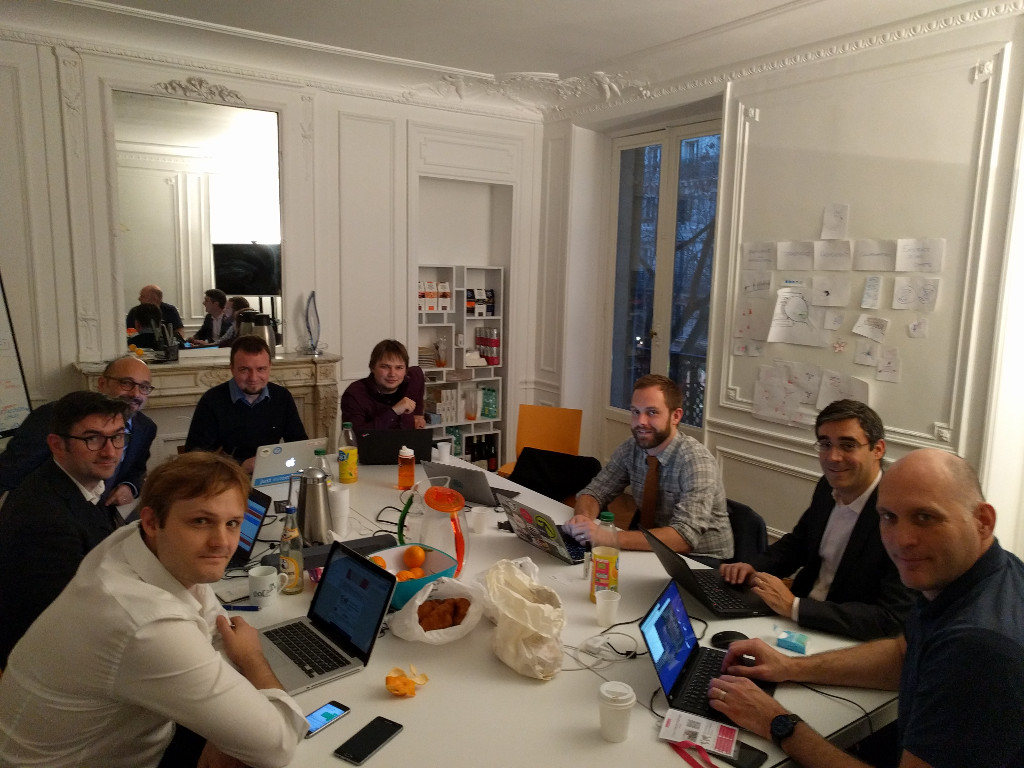 Group working at the OGP workshop on the FOSS contributor policy template
