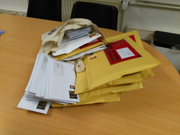 Thursday afternoon batch of letters and packages with information materials